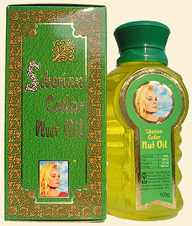 Pine nut oil (pine nut oil) from Siberian pine nuts, bearing 'The Ringing Cedars of Russia' brand name.